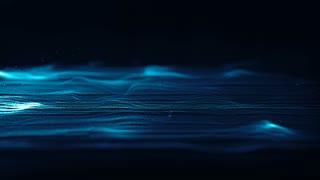 CGI animation of blue strings of particles waving in dark digital space