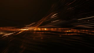 CGI animation of golden glowing strings of particles smoothly flowing in digital space, loopable abstract motion background