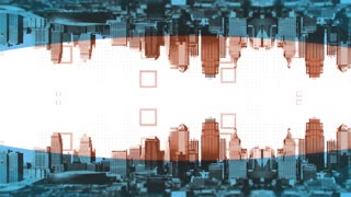 CGI animation of panorama of cityscape with reverse reflection and abstract background of geometric shapes and dots