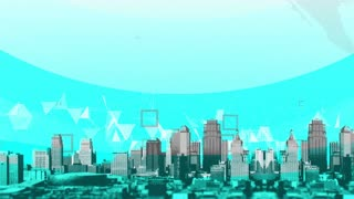 CGI animation of panorama of modern city landscape with blue plexus background