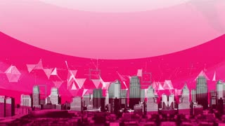 CGI animation of panorama of modern cityscape against pink plexus background with geometrical shapes and dots