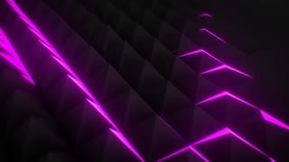 CGI animation of polygonal triangles moving and lighting up chaotically in darkness