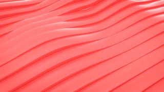 CGI animation of red waving lines, loopable abstract motion background