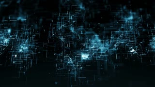 CGI futuristic background with moving particles made with lines and dots and illuminated with blue color against black background