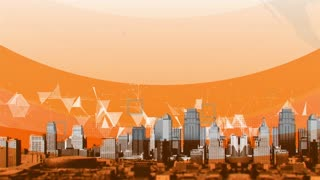 CGI of moving panorama of big city landscape with orange plexus background