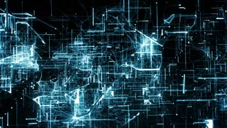 Computer animation of background with moving particles made with lines and dots and illuminated with blue color against black background