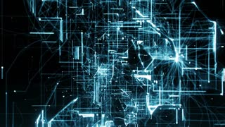 computer animation of background with moving particles made with lines and dots and illuminated with blue