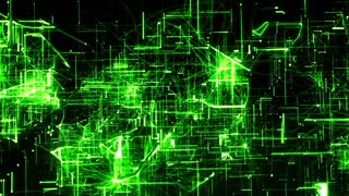 Computer animation of background with moving particles made with lines and dots and illuminated with green color against black background