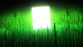 Computer generated animation of green glowing fibers waving around shining rectangle. Concept of flora of exoplanet