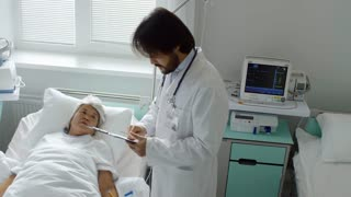 Crane shot of bearded male doctor in lab coat holding clipboard and supporting sick senior lady lying in hospital bed