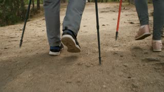 Dolly shot with low-section of legs of unrecognizable elderly people with trekking poles walking along forest trail