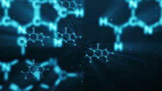 Fly-through animation of blue chemical chains appearing on dark background of abstract digital space