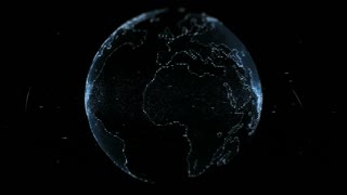 Loopable 3D animation of hologram of planet Earth rotating in dark digital space