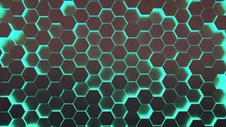 Looping 3D animation of pulsating green hexagon pattern