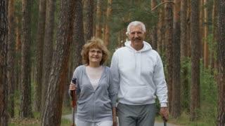 Medium shot of happy elderly people holding trekking poles and walking towards camera in forest