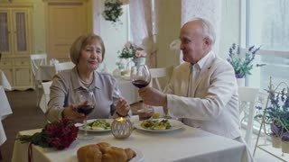 Medium shot of happy senior woman and elderly man clinking glasses with wine and eating salad on romantic date in restaurant