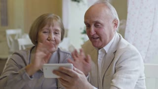 Medium shot of happy senior woman and man sitting in cafe and chatting with family over video call on mobile phone