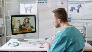 Male doctor giving online consultation via video chat service from his  office Stock Video Footage - Storyblocks Video
