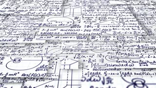 Moving pieces of squared paper of math formulas and equations. Computer generated background