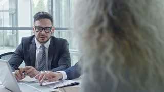 PAN of bearded businessman in glasses and his male colleague with grey hair working on laptop and discussing financial documents during meeting in conference room as businesswoman writing something