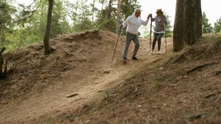 PAN of elderly man with trekking poles holding hand of senior woman in glasses and helping her walk downhill during hike in forest