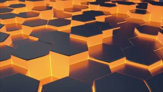Seamless 3D animation of moving hexagon surface