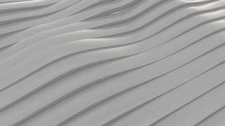 Seamless 3D animation of waving grey lines, relaxing abstract motion background