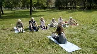 Six active senior people and their young female trainer doing spine and leg stretching on mats in park on warm day