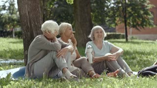 Three old ladies with gray hair sitting by tree in park and talking to their young curly-haired female yoga trainer