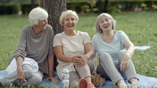 Three senior women with gray hair sitting on yoga mat by tree in park and talking to each other in relaxed and friendly manner after yoga workout