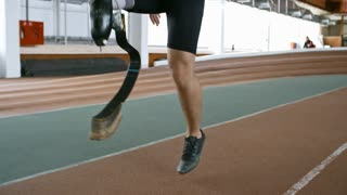 Tracking of unrecognizable sportsman with prosthetic leg training on indoor track