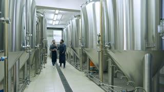 Two coworkers walking through beer factory between rows of steel brewing vessels, using digital tablet, inspecting equipment and talking