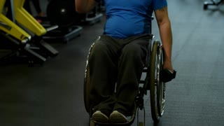 Tilt up of paraplegic man in wheelchair doing shoulder press with dumbbells in gym