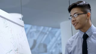 Young Asian businessman in eyeglasses and formalwear drawing line graphs on whiteboard and giving presentation at meeting