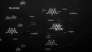 Zoom in of white hexagon shaped chemistry chains and formulas flying in digital space