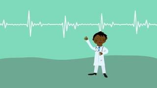 Doctor showing heart beats. Flat design cartoon character.