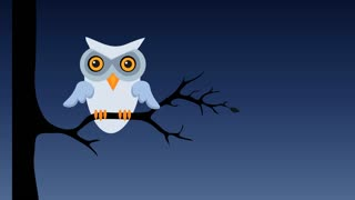 Owl sitting on tree branch at night. Retro cartoon style with flat design.