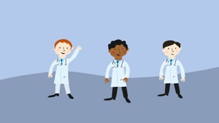 Three doctors. Flat design cartoon character.