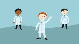 Three doctors waving greeting. Flat design cartoon character.