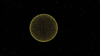 3D sphere shape of particles moving and rotating.