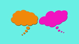 Animated blank thought bubbles on white background