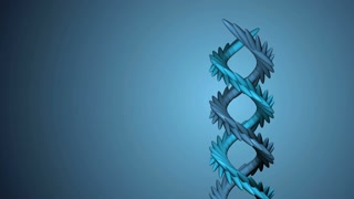 Blue helix shape spiral twisting and moving.