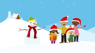 Celebrating family xmas in snowy scenery