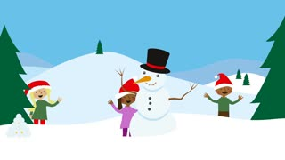 Children in snowy scenery. Animated christmas greeting.
