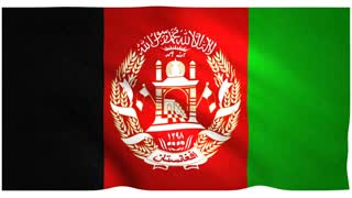 Flag of Afghanistan waving on white background
