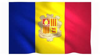 Flag of Andorra waving on white background