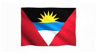 Flag of Antigua and Barbuda waving on white background