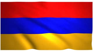Flag of Armenia waving on white background