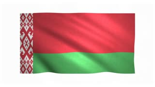 Flag of Belarus waving on white background