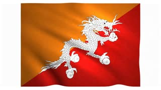 Flag of Bhutan waving on white background